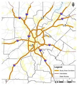 More than 150 miles of managed lanes are in the region's long-term transportation plan. This may shows the corridors that GDOT is reviewing. Credit: GDOT