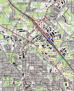 This map of the I-75 corridor in north Marietta shows the dense development that flanks the highway. Credit: GDOT