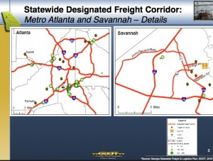 The highways marked in red, in Atlanta and Savannah, can be improved without funding restraints the state had previously imposed. Credit: GDOT