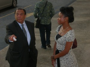 Andrew Young stands with Seana Turner, Rev. Rodney Turner's daughter