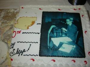 Half-eaten cake after Bill Shipp's party