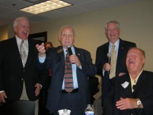 Gov. Roy Barnes, Bob Shaw, Gov. Zell Miller and Sen. Max Cleland sing Happy Birthday to Bill Shipp