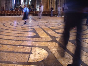 Photo of the labyrinth at Chartres Cathedral in France.