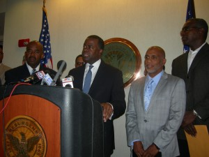 Press conference in the Mayor's office Friday morning: (left to right) Rev. Rodney Turner of Mount Vernon, Mayor Kasim Reed, Lloyd Hawk of Friendship and Rod Edmond, attorney for Friendship (Photos by Maria Saporta)