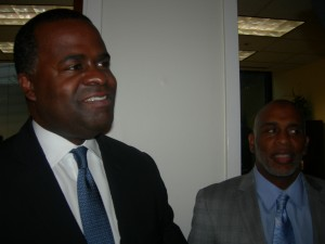Mayor Reed visits with Lloyd Hawk of Friendship following press conference