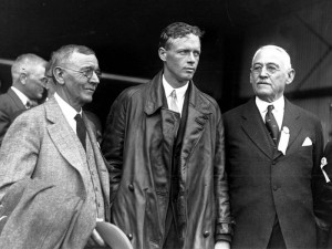 Charles Lindbergh poses with Georgia governor Lamartine Hardman (right) and Atlanta mayor Isaac N. Ragsdale (left) at Candler Field on October 11, 1927. Courtesy of the Atlanta-Journal Constitution