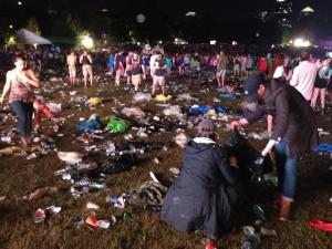 Music Midtown fans sort through trash Saturday night (Photo: Amy Wenk)