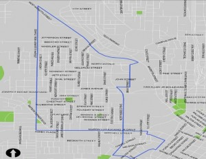 Georgia Tech students have produced a 12-page list of recommendations to improve four neighborhoods near the future stadium. Click on the map for a larger version. Credit: Invest Atlanta