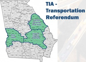 Voters in three regions passed the 1 percent transportation sales tax. Local governments in these three regions, highlighted in green, must provide a 10 percent local match to receive state road funding. The local match for state road funding elsewhere in the state is 30 percent. Credit: GDOT
