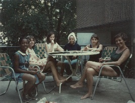 Birthday party 1967. (Left to right) Juandalynn, my sister - Elena, friend Susan Bailey, Yolanda, me and my mother, Nora Saporta