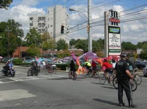 Front of bicycle parade at Sunday's Atlanta Streets Alive (Photos by Maria Saporta)
