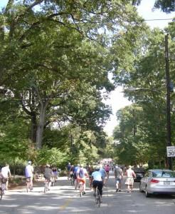 A view of a closed-to-cars Virginia Avenue at Atlanta Streets Alive