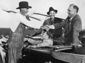 Franklin Roosevelt greets farmers in the countryside surrounding Warm Springs.