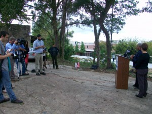 Reporters gathered an event next to the Atlanta BeltLine to hear what former Atlanta Mayor Shirley Franklin and former city coucil president Cathy Woolard had to say on behalf of political newcomer Andre Dickens. Credit: David Pendered