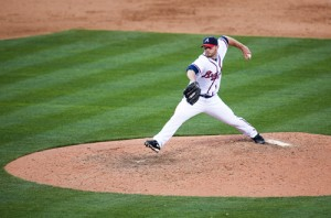 Photo of Billy Wagner pitching on Opening Day 2010 at Turner Field. (Photo credit: Allison Shirreffs)
