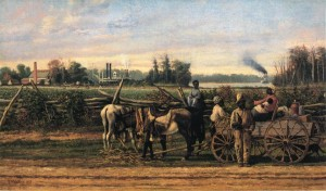 With the advent of the gin, cotton harvesting with slave labor became extremely profitable for plantation owners. Plantation Portrait (1885), by William Aiken Walker, courtesy of the Morris Museum of Art
