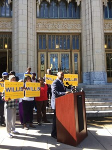 Atlanta Councilmember H. Lamar Willis spoke on the steps of City Hall regarding attacks on his integrity by former Mayor Shirley Franklin and former council President Cathy Woolard. Credit: David Pendered