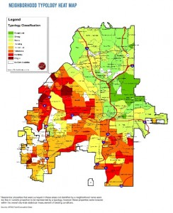 Click on the map for a larger version. This heat map in Atlanta new report on the city's housing stock shows that the most stable areas for investments are clustered in the north, while vulnerable and fragile areas are clustered to the south. Credit: APD Solutions