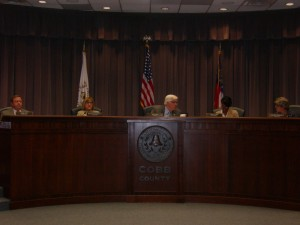 Five Cobb Commissioners gather before meeting begins