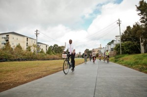 Mayor Kasim Reed rode a bike on the Eastside Trail during its dedication. File/Credit: Christopher T. Martin
