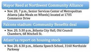 Click on image for larger version: Two meetings on sports arenas and one on neighborhood redevelopment are scheduled the night of Nov. 20. Credit: David Pendered