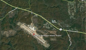 Paulding County officials intend to lengthen the runway of the county-owned airport in order to attract commercial airline service. Credit: Google Earth