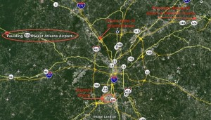 Paulding County's proposed commercial airport is located about 40 miles from Atlanta's airport. Credit: Google Earth, David Pendered