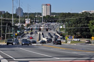 The Perimeter CIDs initiated the diverging diamond interchange to improve vehicular mobility at the intersection of I-285 and Ashford Dunwoody Road. Credit: Donita Pendered