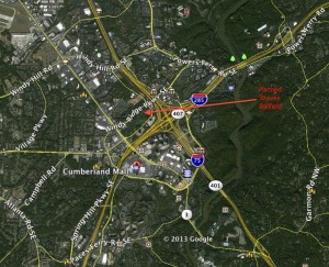 The Atlanta Braves plan to build a ballfield that's in the midst of a grid of big roads that are served by three interstate highways. Credit: Google Earth, David Pendered