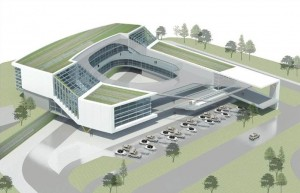 Porsche's North American headquarters represent the type of economic development that could be attracted to the airport area if a CID is formed to improve the area. Credit: HOK via whatnowatlanta.com