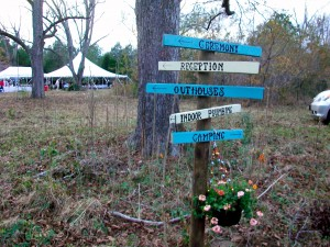 This wayfinding sign guided guests to various venues at Babe+Sage Farm. Credit: David Pendered
