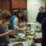 The serving line at the Nov. 22 Potluck Dinner.