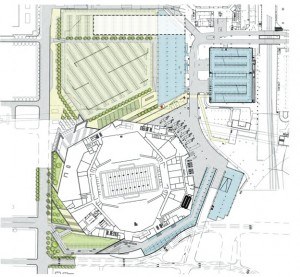 New site plan for Atlanta Falcons stadium. Martin Luther King Jr. Drive would curve along the southern edge of the stadium and merge into Mitchell Street. Existing MLK would dead-end on Northside Drive.