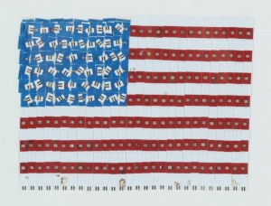Photo of American flag Owenby made out of test strips used to measure her blood sugar levels.