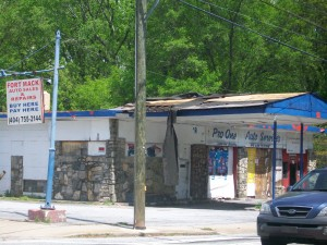 Employment opportunities are limited in areas where businesses are shuttered, such as this store near Fort McPherson. Credit: David Pendered