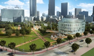 Rendering shows a possible new Metro Atlanta Chamber building on the right with new walkways and vistas (Graphics from the Georgia World Congress Center)