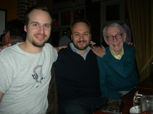 David Luse (my son) with Tom and Candler Lasseter on Sunday night at Murphy's (Photo by Maria Saporta)