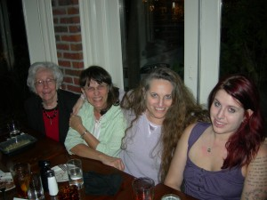 Joyce and Francie Lasseter; SaportaReporta, and my daughter - Carmen Luse at Sunday dinner at Murphy's (Photo by David Luse)