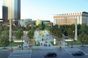 Rendering shows new plaza replacing International Boulevard as well as new vista of College Football Hall of Fame with narrower translucent Metro Atlanta Chamber building
