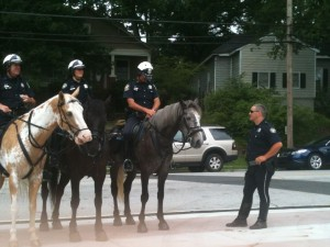 Atlanta's mounted patrol is a special operations section designed to manage and disperse crowds. Credit: David Pendered