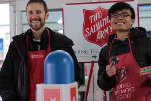Two YPL members ring The Salvation Army bells at Wal-Mart on Howell Mill.  Photo credit: KRJ Productions