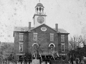 The Wilkes County courthouse was built in 1817. When Georgia seceded, Eliza Andrews's Bonnie Blue flag of rebellion was hoisted outside the courthouse.