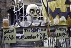 Photo of Halloween display, inspired by Walton's love of B movies