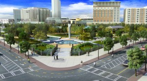 A view of the new entrance to the park on the northeast corner at Centennial Olympic Park Boulevard and Baker Street