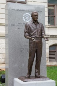 Existing statue of former U.S. President Jimmy Carter at State Capitol which could be moved to a more prominent location