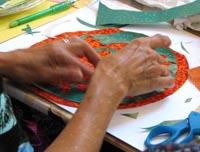 Photo of creating a mandala.