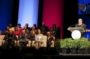 """Former Atlanta Mayor Andrew Young concluded his introduction of Reed by observing: """"Mr. Mayor, you are somebody, but never forget these are the folks who made you."""" Credit: Donita Pendered"""