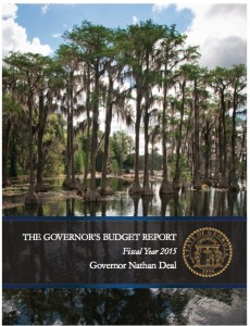 """The cover of Gov. Deal's proposed FY 2015 budget is a photograph taken by Georgia artist Myrtie Cope, """"Banks Lake National Wildlife Refuge."""" It was chosen to hang in the governor's office as part of the rotating exhibit managed by Georgia Council for the Arts. Credit: Office of Planning and Budget"""