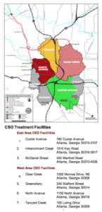 Atlanta has seven CSO facilities that cover distinct water basins. Click on the graphic to see a larger version. Credit: City of Atlanta