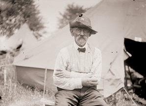 Chickamauga veteran J.J. Dackett was photographed wearing a hat with bullet holes made during the historic battle. Credit: Library of Congress via civilwar.org.
